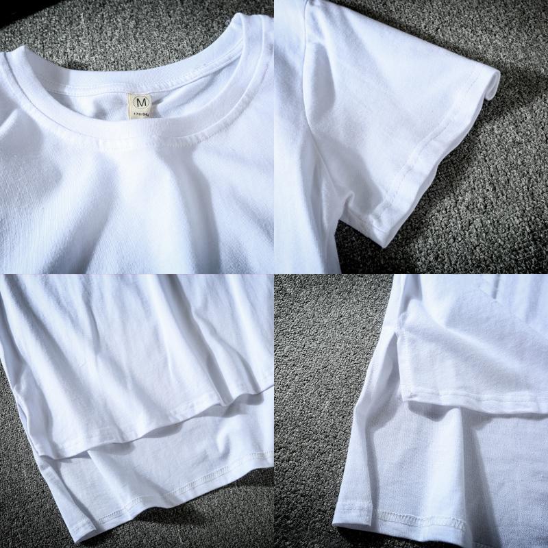 宽松不规则前短后长款纯色上衣体恤衫 oversize 恤 T 欧洲站男士短袖
