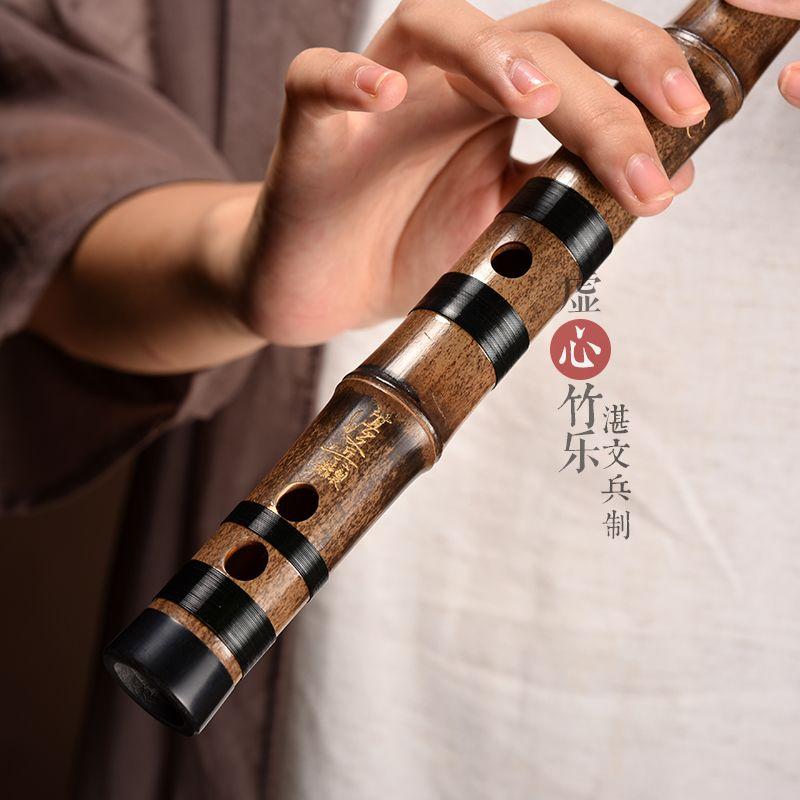 调梆笛曲笛 F 调 G 湛文兵专业精制紫竹笛一节笛初学笛子乐器大人横笛
