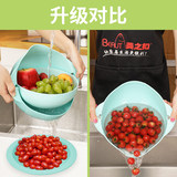 Double-layer flip wash basin water basket kitchen sieve rice basket god plate plastic living room wash fruit basket
