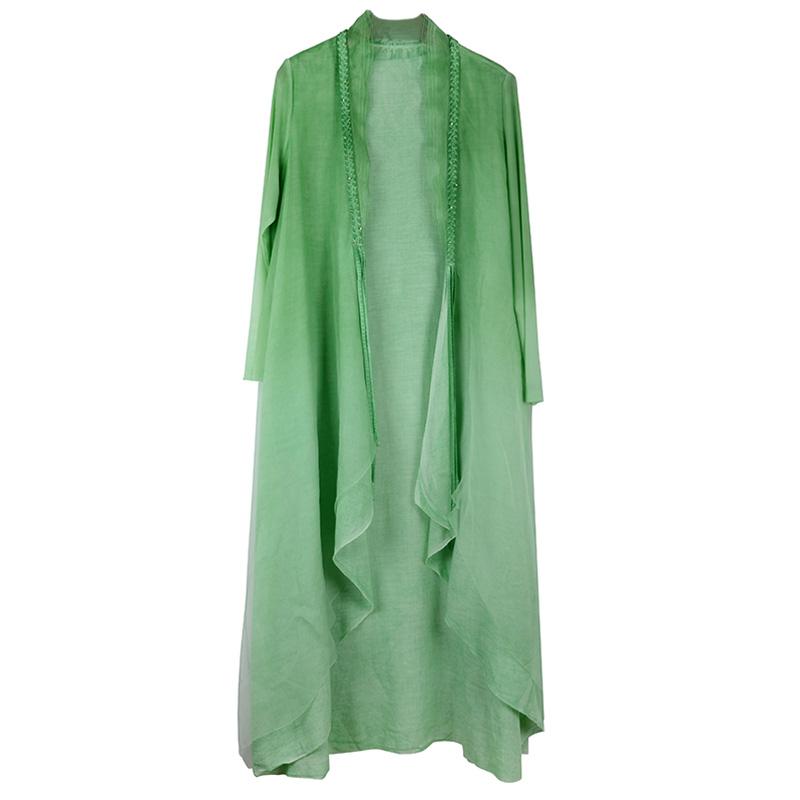 真丝外披开衫2019新款春装风衣女披肩薄款外套中长款桑蚕丝防晒衣