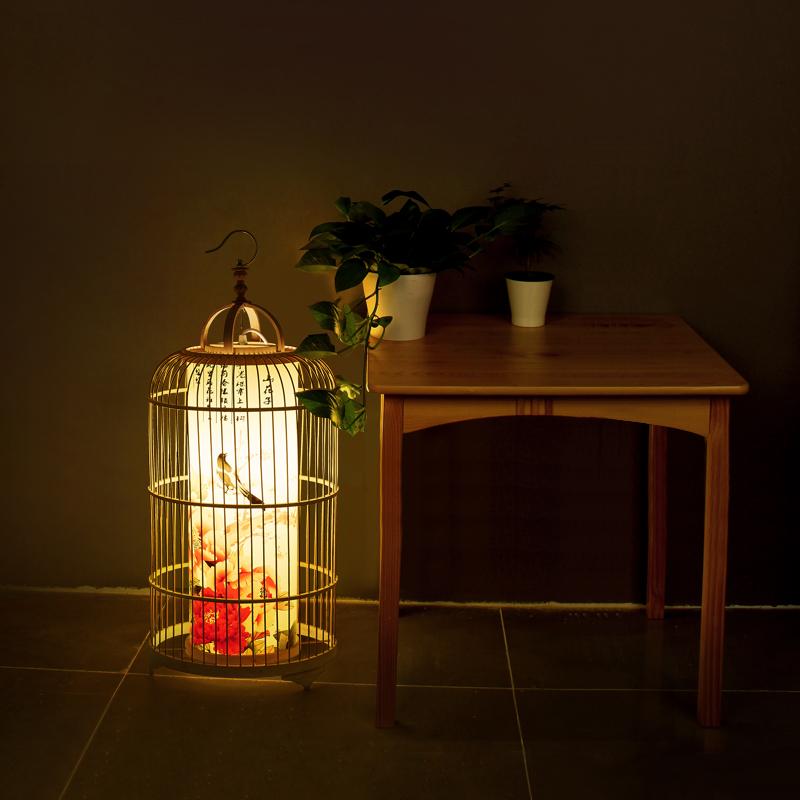 新中式鸟笼落地灯客栈客厅书房茶楼会所创意个姓装饰台灯落地灯