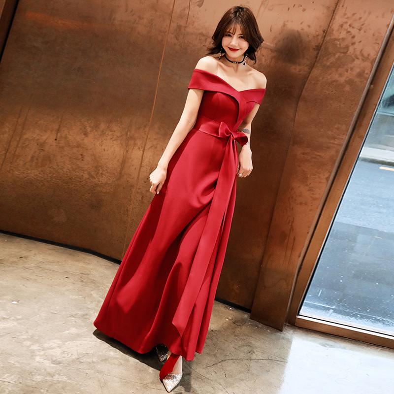 敬酒服新娘平时可穿伴娘酒红色连衣裙回门订婚结婚衣服小晚礼服女