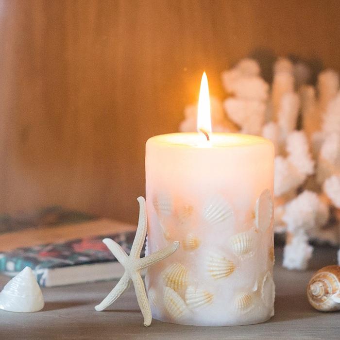 掬涵 貝殼蠟燭 柱形圓柱蠟燭海洋香薰工藝無煙浪漫婚慶