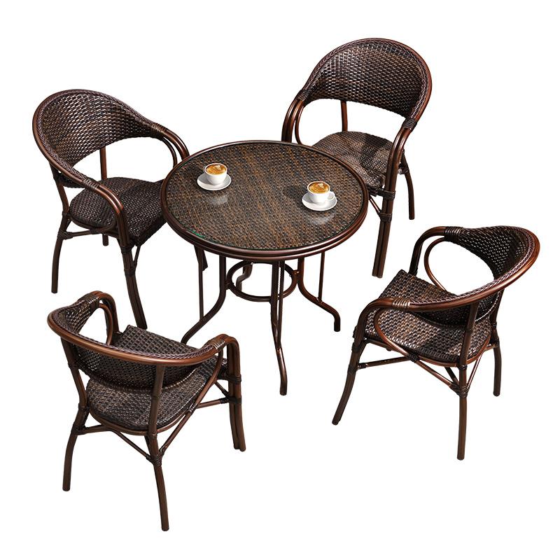 紫叶户外桌椅组合阳台藤椅三件套室外庭院花园休闲椅小茶几椅藤编