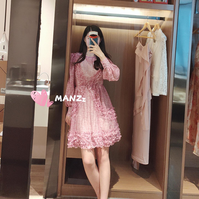 MANZz江疏影同款夏季热卖粉紫色碎花长袖雪纺连衣裙女公主风甜美