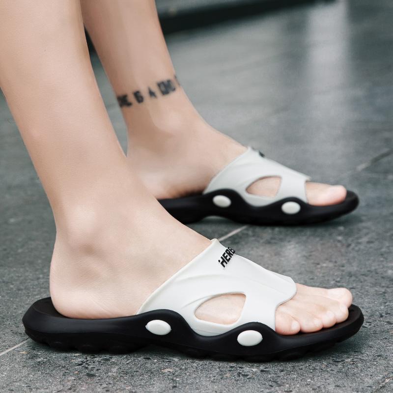 新款时尚外穿拖鞋防滑一字拖男英伦夏季潮流室内情侣浴室拖鞋 2020