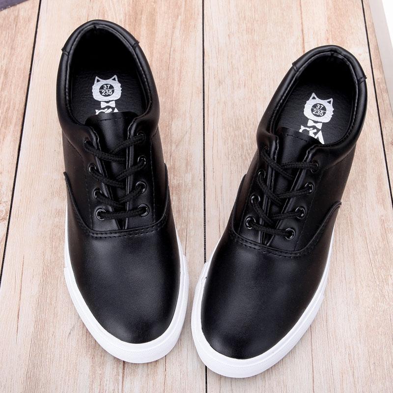 韩版2018春季内增高厚底皮面帆布鞋女学生休闲低帮系带松糕跟鞋子