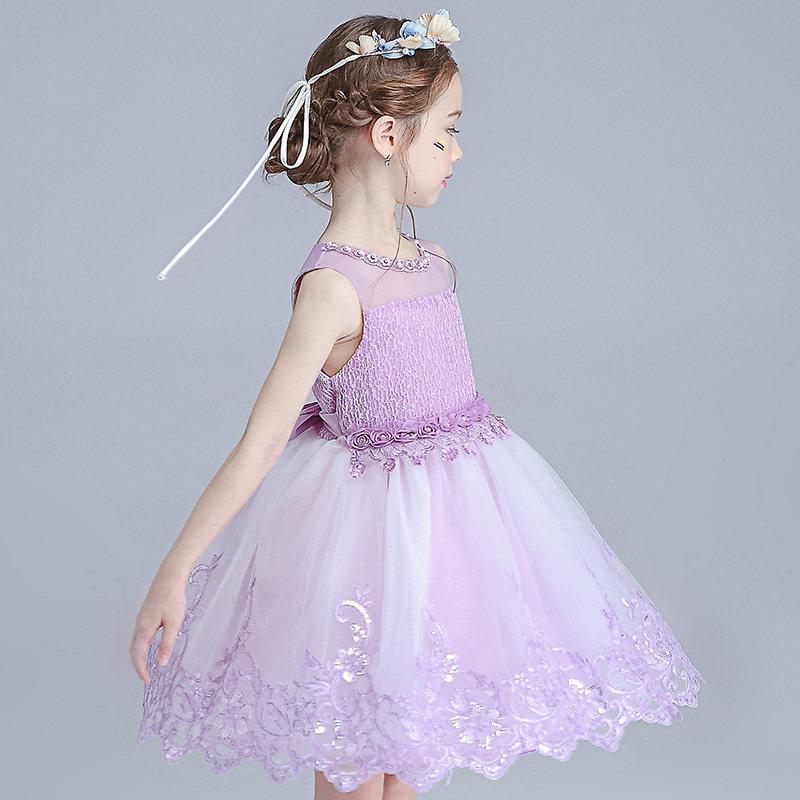 生日公主裙女童冬季连衣裙长袖韩版女宝宝儿童礼服学生钢琴演出服