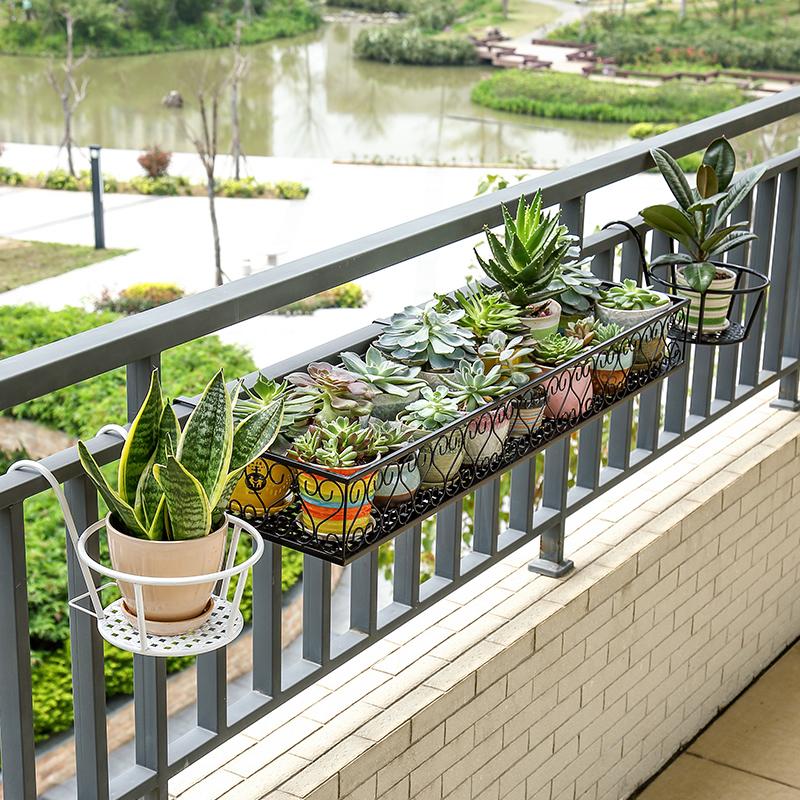 欧式铁艺阳台栏杆花架室内窗户护栏悬挂式多层花盆架绿萝多肉