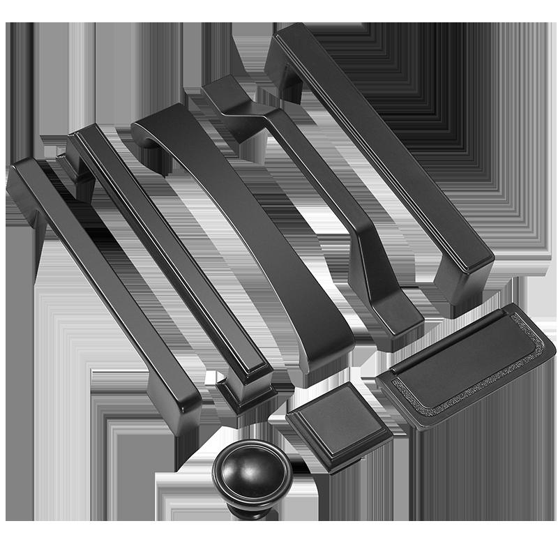 鹰盾橱柜抽屉拉手美式黑色衣柜门把手现代简约欧式柜子单孔北欧小