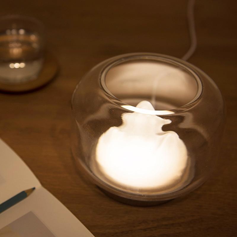文艺小夜灯创意氛围灯充电暖山玻璃鱼缸手工桌面床头摆件伴睡中秋
