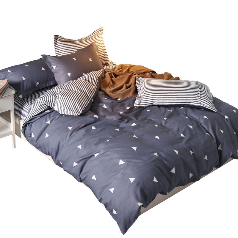 100%纯棉四件套全棉被套床单宿舍三件套简约女1.8m米床上用品床笠