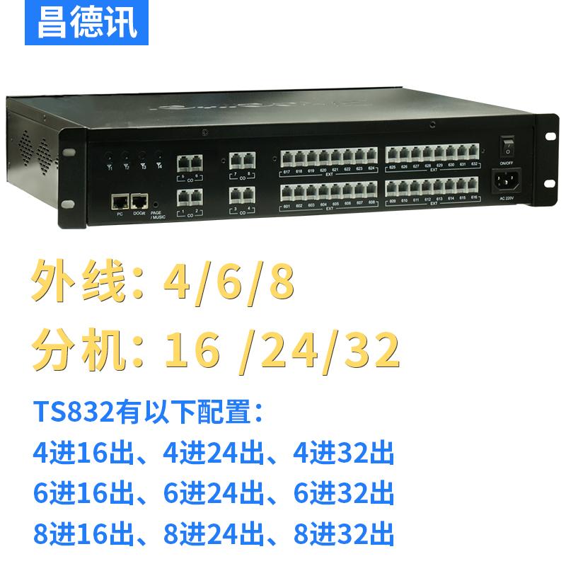 昌德讯TS832电话交换机4进16出程控交换机8进32出电脑网络编程4进32出手机卡模块接入4进24出门锁6进16 24 32