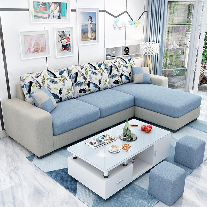 簡約現代布藝沙發 小戶型沙發轉角組合 可拆洗客廳三人位布藝沙發