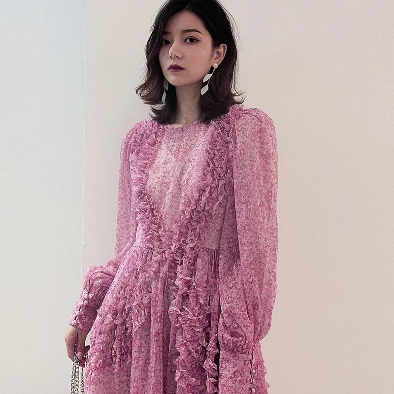 江疏影明星同款衣服紫色碎花连衣裙女长袖名媛法式雪纺仙女裙短裙