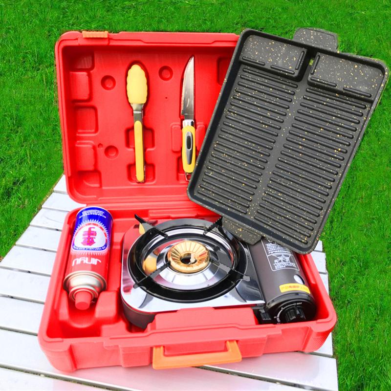 金宇 卡式爐便捷式戶外旅行燒烤爐套裝火鍋烤肉野營燃氣爐瓦斯爐