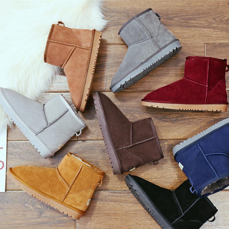 真皮雪地靴女短靴大碼冬季保暖加絨短筒棉靴子平底學生加厚男女鞋