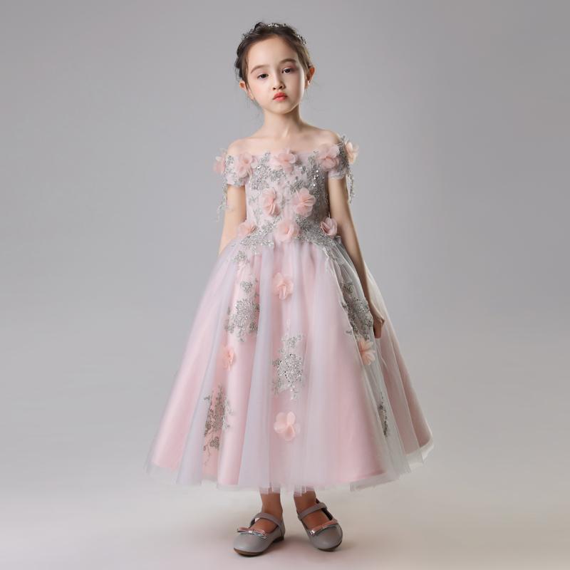 女童婚纱公主裙蓬蓬纱儿童一字肩生日晚礼服小花童钢琴演出服夏季