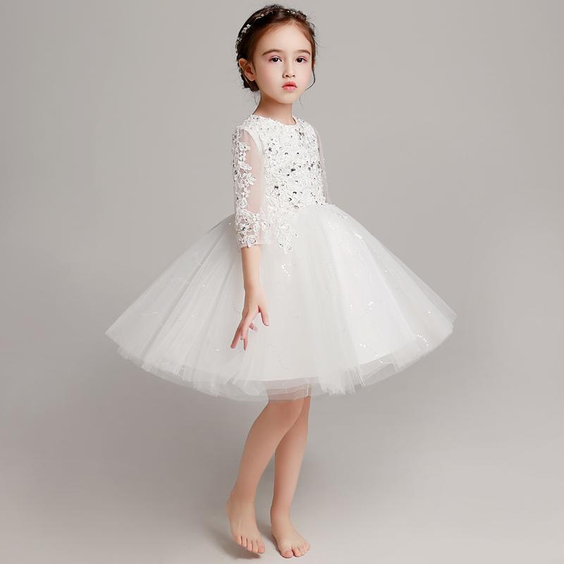 公主裙女童蓬蓬纱儿童晚礼服花童小主持人女孩走秀钢琴演出服洋气