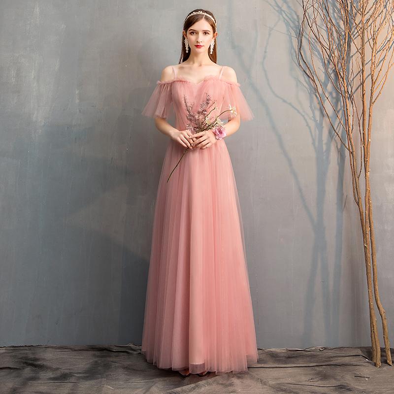 伴娘服2019新款韩版粉色宴会长款伴娘团显瘦姐妹裙礼服超仙气质女