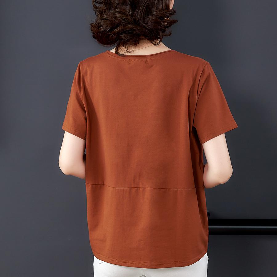 纯棉t恤女宽松夏季2020年新款中年妈妈上衣夏装短袖全棉韩版大码主图