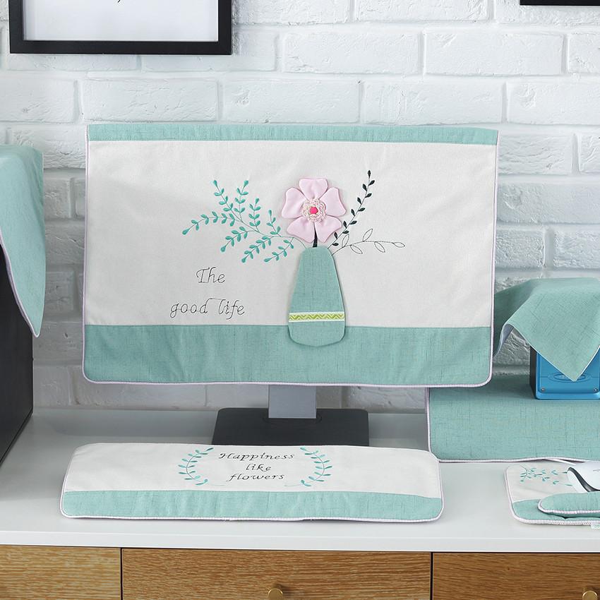电脑防尘罩台式液晶盖电脑的防尘布可爱通用显示器装饰电脑防尘套