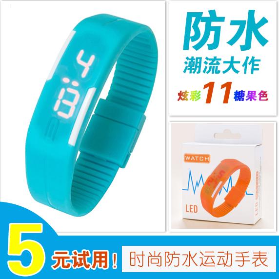 韓版LED觸控糖果色卡馬龍運動時尚休閒電子手錶腕錶