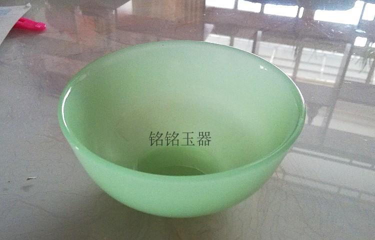 精美浅绿色玉碗摆件 米饭碗玉器茶碗酒碗饭碗礼品  玻璃玉家用玉碗