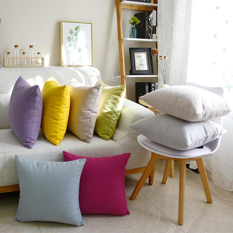 純色棉麻靠墊沙發抱枕套簡約現代大號靠枕枕頭午休枕床頭靠枕定製