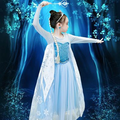 爱莎公主裙女冰雪奇缘艾莎公主连衣裙爱莎女童秋季儿童蓬蓬纱裙子