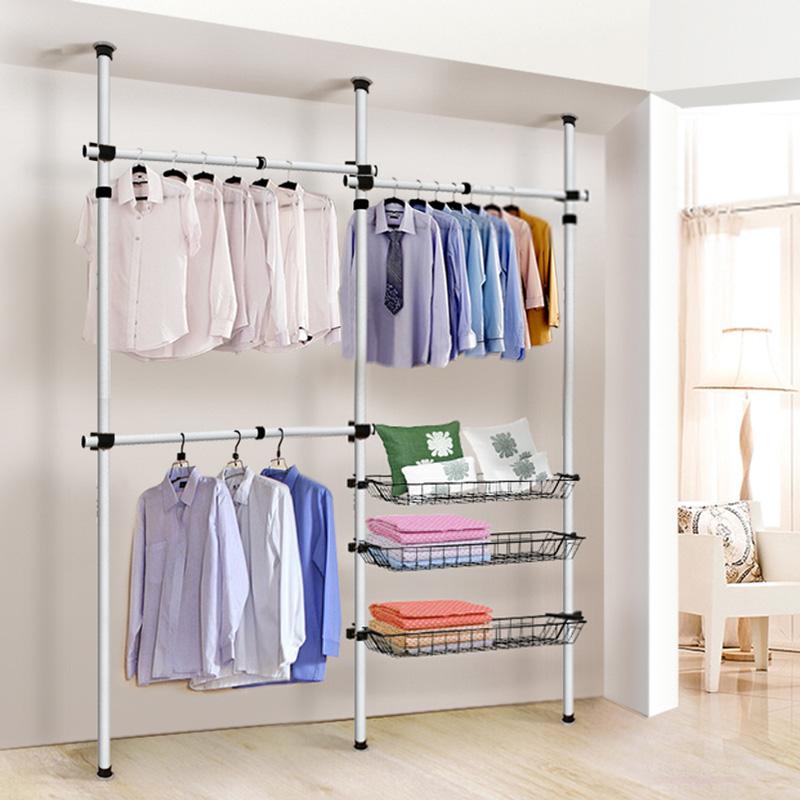 挂衣架落地卧室简易不锈钢室内组装创意现代衣帽架衣架子顶天立地
