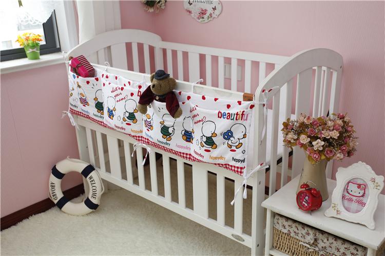 宝宝玩具尿布绘本收纳袋尿布片奶瓶湿巾袋储物婴儿床侧纯棉长挂袋