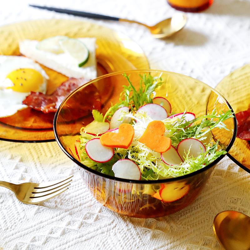 法國進口DURALEX/多萊斯鋼化玻璃餐具琥珀色米飯碗餐碗家用套裝