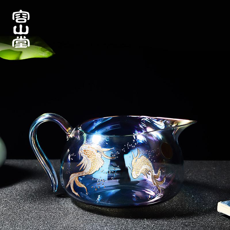 2019年茶博会获奖品牌 容山堂 焕彩金银烧玻璃公道杯功夫茶具