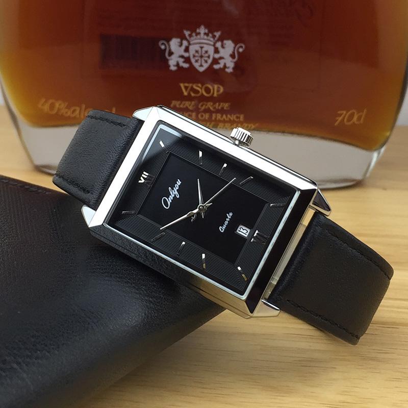 奥利妮情侣手表男士日历真皮带防水长方形石英女学生手表时尚韩版