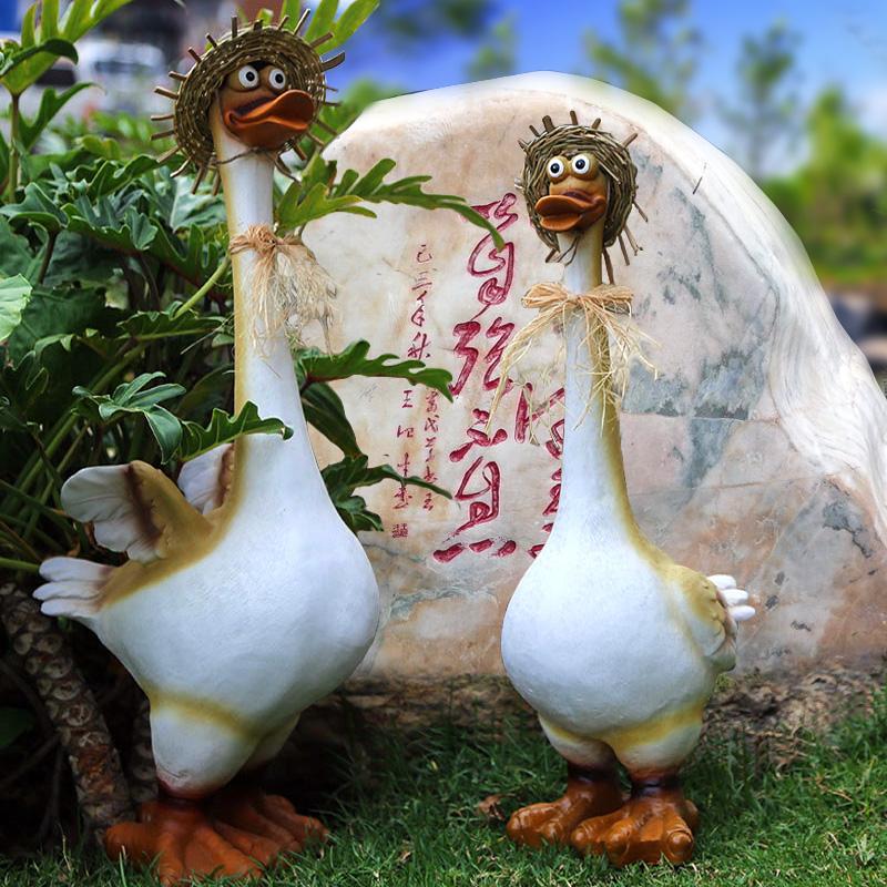 花園田園庭院景觀園林樹脂擺件動物擺設模擬大鴨子卡通雕塑工藝品