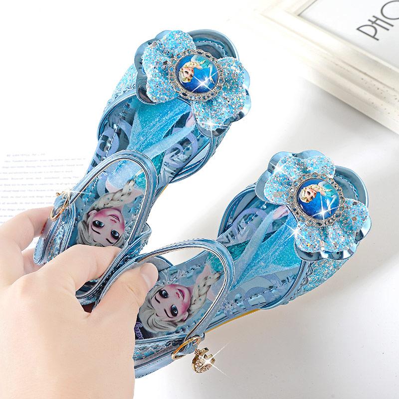 女童凉鞋2020新款可爱时尚爱莎公主鞋小学生软底水晶艾莎儿童鞋子
