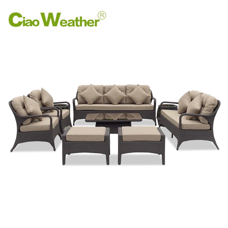 藤沙发庭院 藤椅沙发茶几组合 藤编家具客厅藤制户外沙发防晒防水