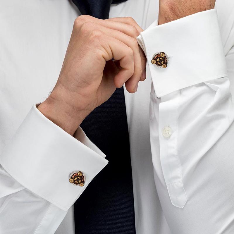 玛诗杜前卫蒸汽朋克旋转齿轮袖扣领带夹男士配饰刻字定制送男友