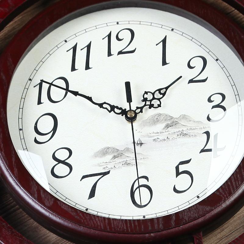 蔻安娜新中式挂钟客厅中国风钟表创意石英时钟卧室壁钟静音木挂表