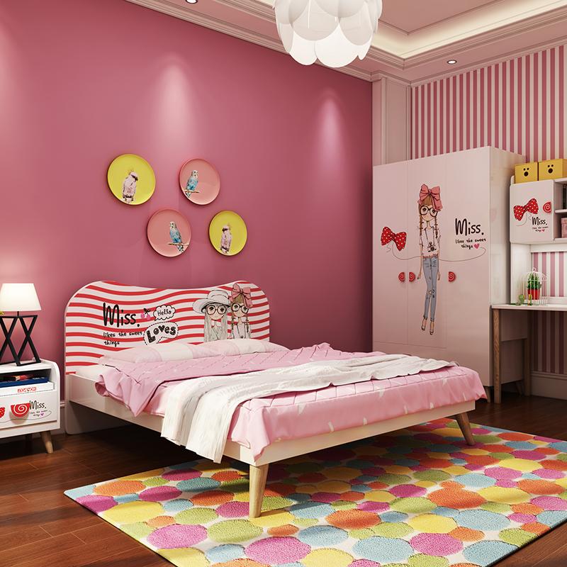 七叶木儿童床女孩卧室成套家具女生套房公主房家具组合床衣柜书桌