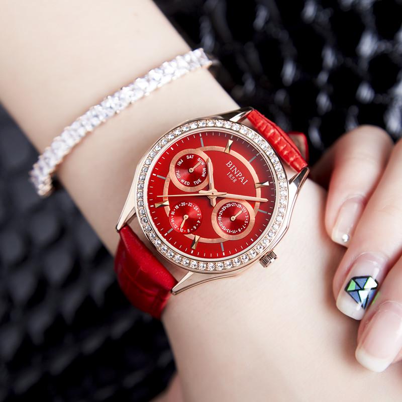 宾派韩版女款玫瑰金时尚潮流女士手表女真皮带防水镶钻石英表女表