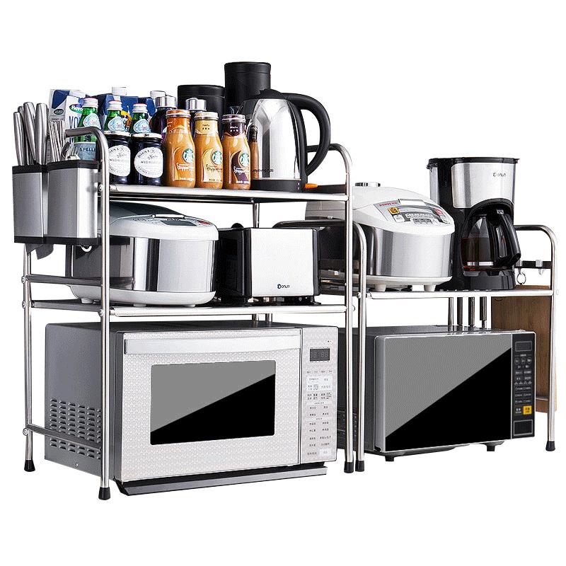 不锈钢厨房置物架双层桌面微波炉架子 台面2层电饭锅烤箱收纳二层