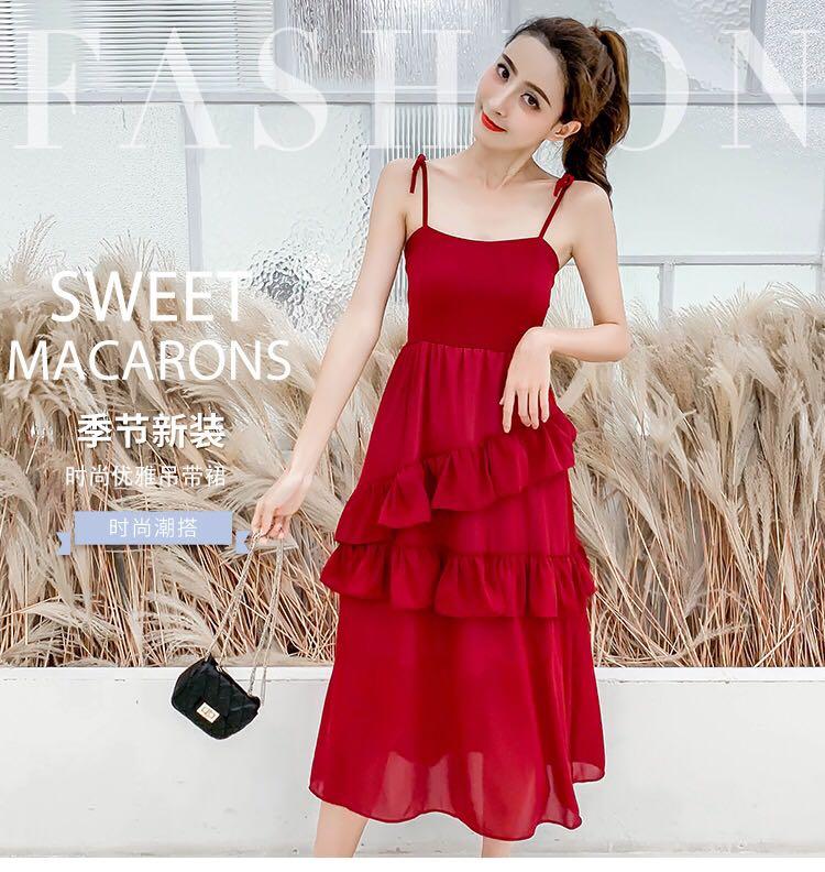 连衣裙2020夏季网红小柳岩黑天鹅卡卡同款新款复古小清新仙女裙