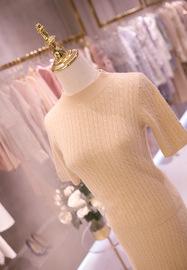 2019早秋新款纯色柔软细羊绒羊毛上衣针织包臀裙套装两件套