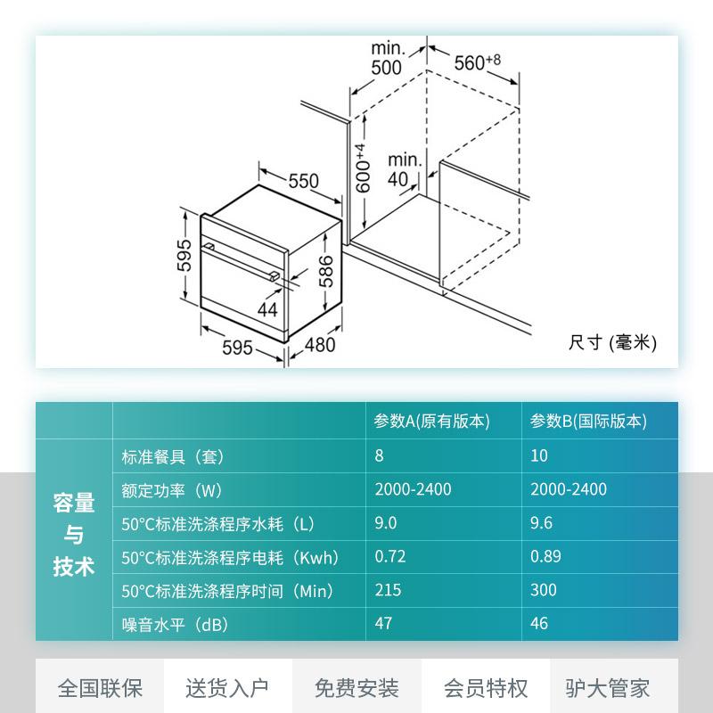SIEMENS/西门子 SC73E610TI进口家用全自动洗碗机嵌入式8套(A版)