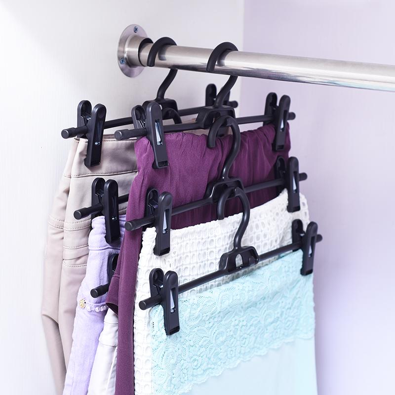 日本LEC帶夾子裙子衣架展示架晾晒架衣櫃省空間可調節疊加防滑架