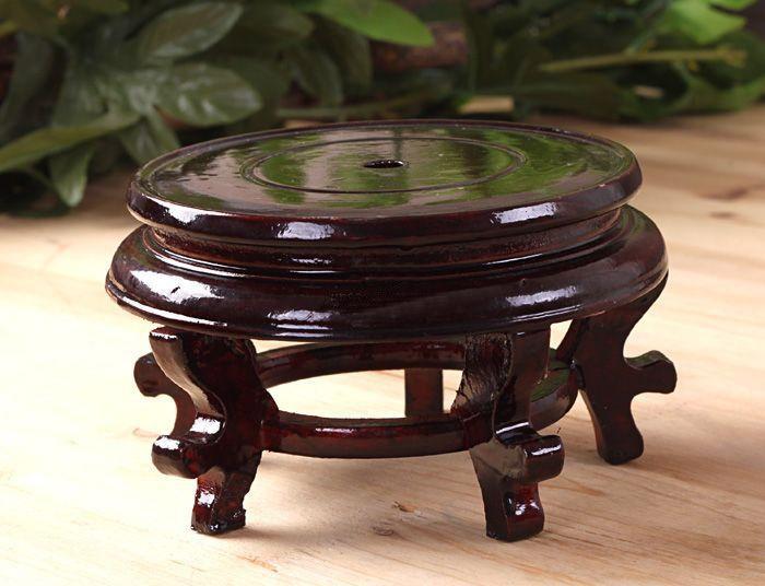 花盆底座木头托架实木花瓶盆栽摆件奇石木托圆形鱼缸架底座木包邮