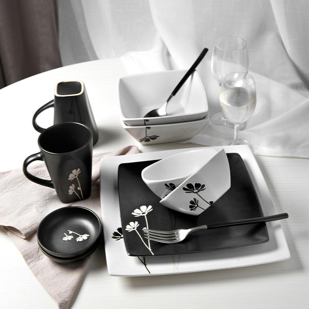 簡約餐具套裝2人創意碗盤家用黑白組合喬遷禮盒碗碟套裝