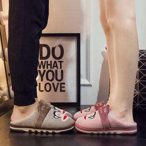 大嘴猴厚底保暖鞋男女情侣家居室内冬季棉拖防滑毛毛绒拖鞋半包跟